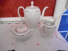 Vtg Rosenthal China very large tea pot creamer and sugar white w platnium trim