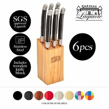 Chateau Laguiole Steak Knife Set Stainless Steel Blades with Knife Block 6 Pcs