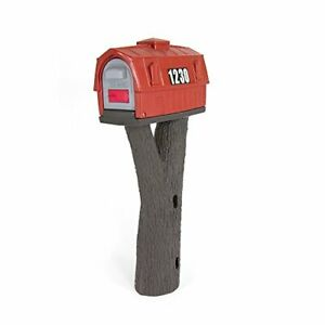 Simplay3 Rustic Red Barn Plastic Residential Mailbox & Post Mount Combo Kit w...