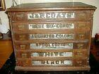 Antique J&P. COATS Spool Cabinet Six Front Drawers