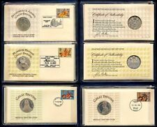 GB 1974 GREAT BRITONS FDC SET SILVER MEDALLIC COVERS + FOLDER