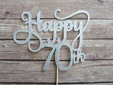 Happy 70th Cake Topper - Silver Glitter 70th birthday topper, 70 cake decor