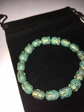 BEAUTIFUL PATINA BUDDHA HEAD BEAD BRACELET ANTIQUE BRONZE GREAT GIFT