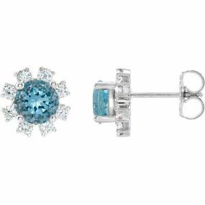 Blue Zircon & 1/4 CTW Diamond Earrings In Platinum