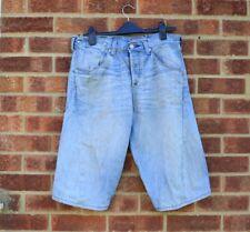 "Vtg blue denim shorts Levi's 32-35"" high waisted mini cycling cutoffs 12-14"