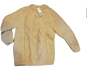 New old stock With Tags Handmade Beige Wool Fisherman Sweater Made in Greece XL
