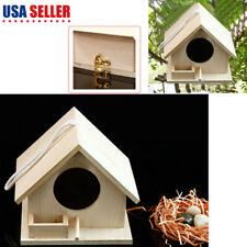 Wooden Bird House Birdhouse Hanging Nest Nesting Box with Rope Home Garden S New