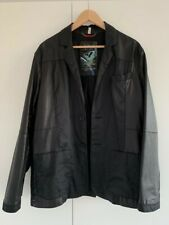 Armani Jeans Slim Fit Black Leather & Linen Jacket / Blazer (Golden Blue Anniver