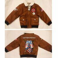 DISNEY STORE Captain Marvel America KIDS 5 6 Youth BOMBER FLIGHT AVIATOR JACKET