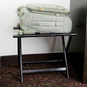 "NEW Black Heavy Duty Wood Folding Luggage Rack - 24 1/2"" x 15"" x 20"""