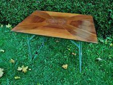 ancienne table d'appoint- pliante- marquetterie noyer art déco-pieds métal