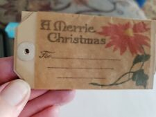24 1900s Embossed Christmas Gift Tag. A Merrie Christmas Antique Poinsettia
