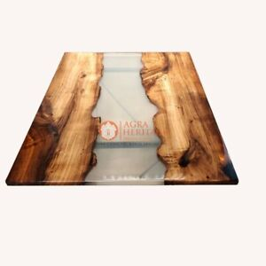 Clear Resin River Dining Table Handmade Acacia Custom Luxury Furniture Home Deco
