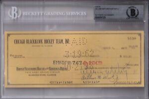 BECKETT WILLIAM WIRTZ AUTOGRAPHED-SIGNED 1962 CHICAGO BLACKHAWKS CHECK #5530
