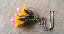 Orange Flower Earrings Lucite Swarovski crystals Beaded Dangle Handmade Bronze