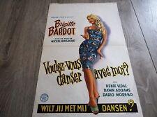 brigitte bardot  VOULEZ VOUS DANSER AVEC MOI affiche d'epoque 1959