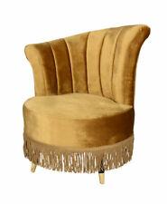 Art Deco Samt Sessel Gold Cocktailsessel mit Fransen Loungesessel Boudoir Stuhl