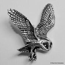 Barn Owl Pewter Brooch Pin -British Artisan Signed Badge- Falconry, Common, Hawk