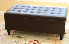 Black Storage Bench Ottoman Furniture Lift Top Coffee Footstool Brown Leather