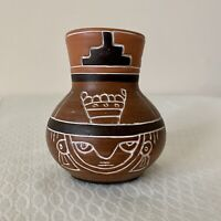 Vintage Armando De Mexico Pottery Vase Folk Art Native Sgraffito Signed