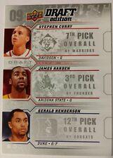 2009-10 Stephen Curry Upper Deck Rookie RC trio James Harden Gerald Henderson $$