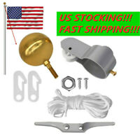 Flag Pole Replacement Parts Repair Kit Truck Pulley Halyard Cleat Clips Rope Kit