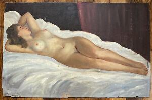 Tableau Realisme Nu Feminin Femme nue allongée Peinture signature à identifier