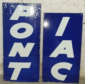 LARGE PONTIAC PORCELAIN ENAMEL SINGLE SIDED SIGN