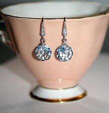 Austrian Aqua blue spinning crystal silver pave bridesmaid formal drop earrings