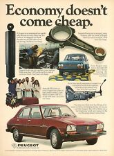 1976 AD for 1977 Peugeot Economy Not Cheap blue,red car photo Vintage Print Ad