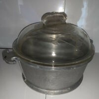Vintage Guardian Service Round Pot with Glass Lid Hammered Aluminum Cookware