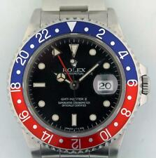 Rolex GMT Master II 16710 Stainless Steel Watch Pepsi Red Blue Bezel Serviced
