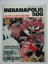 1978 Indianapolis 500 Program A.J. Foyt Gilmore Coyote on Cover