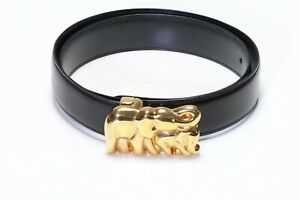 """Cartier Paris """"Mother and Baby"""" Elephant Gold Plated Black Leather Women's Belt"""