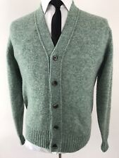 Vintage Alan Paine Mens Sz 42 Green Cardigan Sweater Lambswool Grandpa