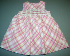 CHILDREN'S PLACE GIRL12-18M PINK & WHITE FLORAL DRESS CHECKERED TRIM 100% COTTON