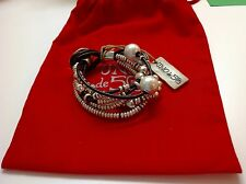 "NWT Uno de 50 Silver-plate/Leather Faux Pearls/Beads Bracelet 7.5"" ""Orion"" $185"