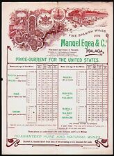 Spanish Wine - Portugal Manuel Egea & Co Malaga Vintage Color Letterhead List