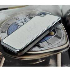 New White Deluxe Carbon Fibre Hard Back Chrome Case for iPhone 4 / 4S