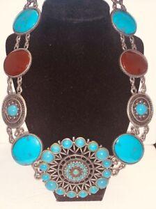 Faux Turquoise & Red Jasper Medallion BELT Antique Silver Chain Southwest CHICOS