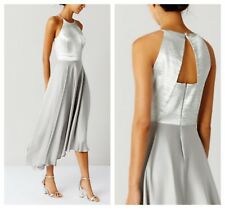 ex Coast Silver Becky Asymmetric Satin Bridesmaids Occasion Dress