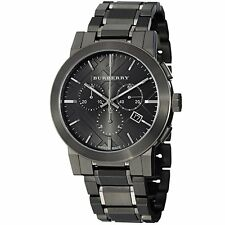 Burberry Mens BU9354 Large Check Gray Ion Plated Stainless Steel Watch