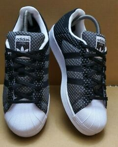 ADIDAS SUPERSTAR SHELL TOE TRAINERS BLACK & WHITE WEAVE SIZE 6 UK IMMACULATE