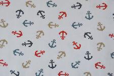 Jersey Stenzo weiß mit Anker maritim Baumwolle 50 X 150 Cm Nähen Stoff