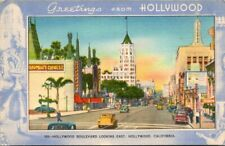 Postcard Hollywood Boulevard Looking East Hollywood California.