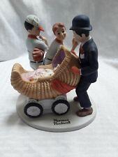 Danbury Mint Norman Rockwell The Baby Sitter Boys Baseball Porcelain Figurine