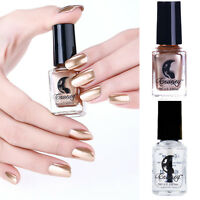 2Pcs 6ml Metallic Nail Polish & Base Coat Nail Art Mirror Magic Varnish Polish