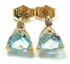 NICE 10KT YELLOW GOLD TRILLION BLUE TOPAZ & DIAMOND EARRINGS   E938