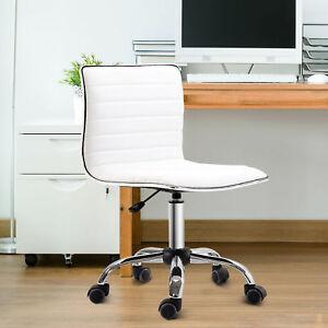 HOMCOM Armless Mid-Back Adjustable Office Chair with 360 Swivel Ergonomic White