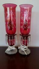 VINTAGE CRANBERRY CRYSTAL RUBY GLASS HURRICANE BOUDOIR TABLE LAMPS MANTLE ELECTR